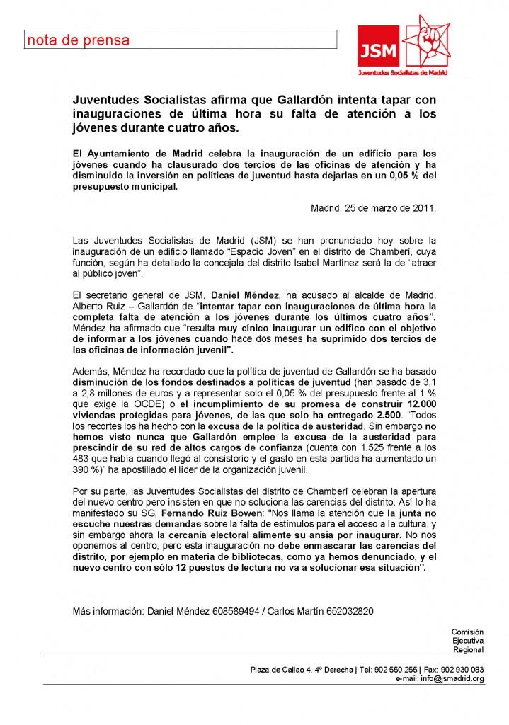Nota de prensa: Gallardón tapa con inauguraciones la falta de política de juventud en Madrid en sus años de (des) gobierno municipal.