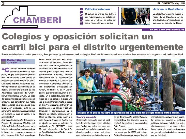Nota de prensa: Carril Bici en Chamberí